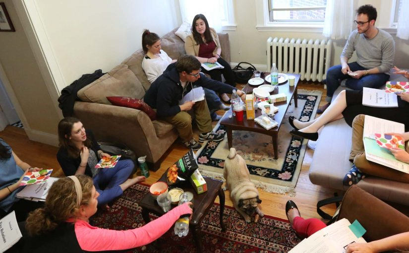 young adults talking in living room