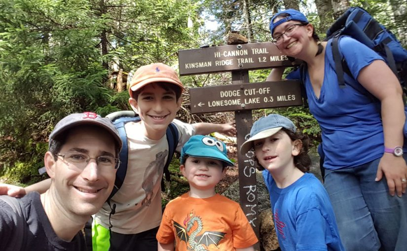 Cantor Ken Richmond and family on a hike