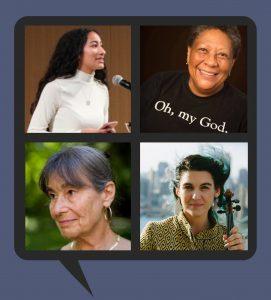 Four poets: Alondra Bobadilla, Marilyn Nelson, Alicia Ostriker, Alicia Jo Rabins