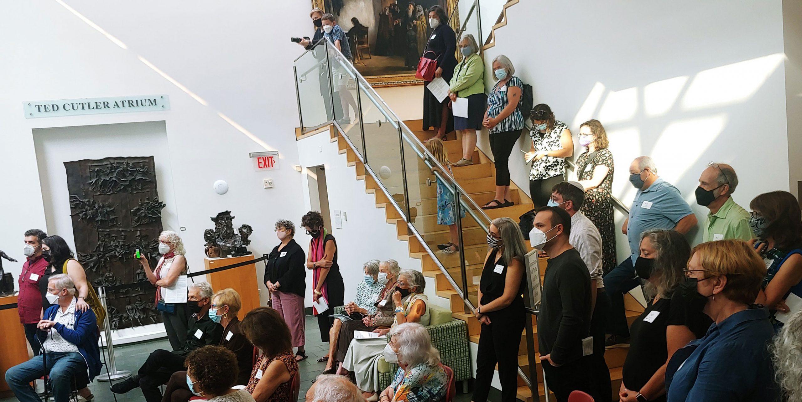 Crowd at Seeing Torah exhibit